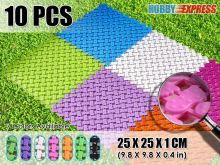 New 10 pcs Foot Print Pattern Garden Anti Slip Plastic Floor Mat Tiles 25 x 25 cm KK1128 7 Colors
