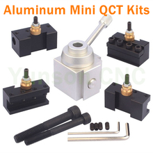KX Mini Piston type Aluminum Quick Change Tool QCT Kits 1pcs Tool Post turret+4pcs Tool holders for 7*12,7*14,7*16 Mini Lathe