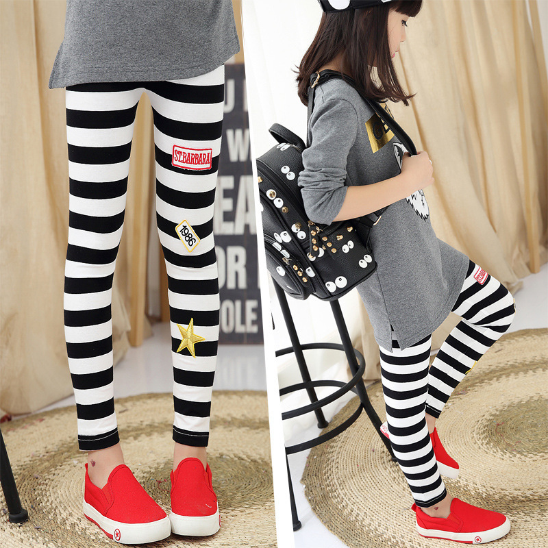 Childrens Garment Girl Stripe Trousers New Pattern Motion Spring Pants Trousers  Hit Underpant 2 Pieces Kids Clothing Sets<br>