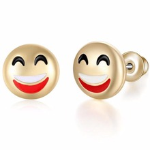 10mm Heart Lovely gold tone Round Funny Simle Emoji earrings Jewelry Women Fashion Emoticons face Stud Earrings 21092(China)