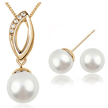 tiger totem free shipping new fashion wholesale  Women William Kate Wedding Queen pearl pendant necklace earring Jewelry circle