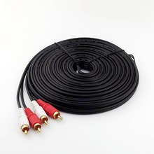 1pcs 49FT 15m Twin Phono 2 RCA Cable Audio Lead Gold Two Male TV Projector 2 RCA Cord(China)