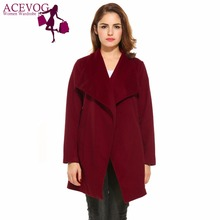 ACEVOG Autumn Winter Pocket Cardigan Coat Women Wide Lapel Open Front Wrap Belted Casual Waterfall Wool Blend Coat 2 Colors(China)