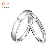18K Platinum Plated CZ Couple Wedding Band Marriage Her and His Promise Rings For Men and Women Valentine's Gifts