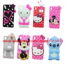 Hot Selling 3D Hello Kitty Lips Rabbit Stitch Minnie Mouse Owl Cartoon Case Cover For Sony Xperia M4 Aqua