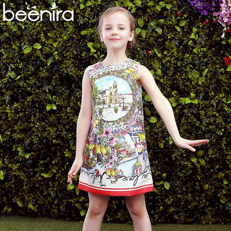 Beenira Children Clothes Dress 2017 New Summer Style Kids Exquisite Sleeveless Flower Pattern Princess Dresses For Girls Dress<br>