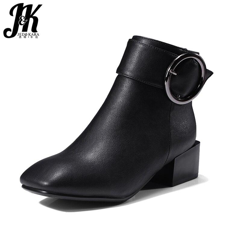 J&amp;K 2018 Plus Size 32-42 New Arrive Square Heels Ankle Boots Women Buckle Strap Square toe Winter Boots Female Footwear Zipper<br>