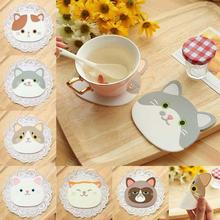 Silicone heat-resistant table mats Dining table placemats Glass mat insulation pad Creative coffee cups cartoon coasters L50(China)