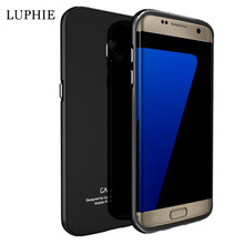 Luphie Aluminum matal frame with tempered glass Back case for samsung galaxy s7 edge phone Back Cover Case s7 edge g9350