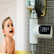 Loskii LW-101 LED Display Home Water Shower Thermometer Flow Self-Generating Electricity Water Temperture Mete