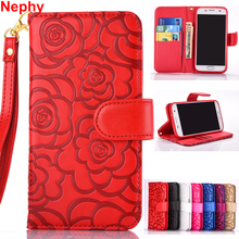 Nephy Luxury For Samsung Galxy S5 S6 S7 Edge Case S 5 6 7 Duos S5 Neo Cover 3D Flower Leather Housing Casing Holder With Strap(China)