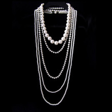 Vintage Multi layer Simulated Pearl Necklace Women Long Chain Choker Collier Femme Necklaces Pearl Jewelry 2016 New Fashion(China)
