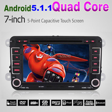 "Android 5.1.1 Lollipop Quad Core For VW 1024*600 HD Head Unit 7"" Car GPS Navigation For Volkswagen Seat Skoda DVD Player #4313"
