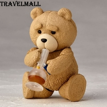 TraVelMall New in Box Anime Q Ver Bear Smoking Beer Phone 006# 9cm PVC Action Figure Doll Model Toy for Ted 2 kids gift(China)