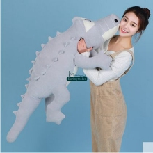 Dorimytrader 125cm New Large Cartoon Lying Crocodile Plush Toy 49'' Big Animal Alligator  Stuffed Pillow Doll Kids Gift DY61014