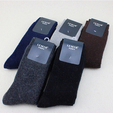 Solid Color Men's Socks Rabbit Wool Thick Socks Business Male Keep Warm Terry Sock High Quality Winter Men Dress Clothing Cheap
