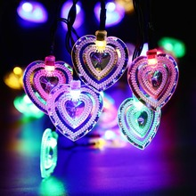 Jiaderui 20 LED Heart Shape Solar Fairy String Light Waterproof Solar Powered Outdoor Light Garden Lamp Christmas Decorations(China)