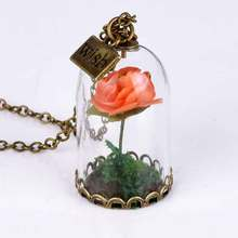 3Pcs/lot Retro Crystal Glass Necklace Wholesale Long Glass Wishing Bottle Rose for Women Gift Beauty and the beast Drop Shipping