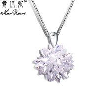 Buy Snowflake CZ Stone Necklaces & Pendants White Silver Plated Fashion Chain Cubic Zirconia Jewelry Long Necklaces Women for $2.99 in AliExpress store