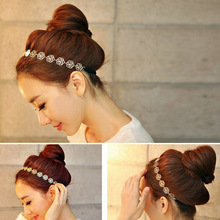 Girl'S Fashion Metal Chain Jewelry Hollow Rose Flower Elastic Hair Band Headband hairband hair accessories