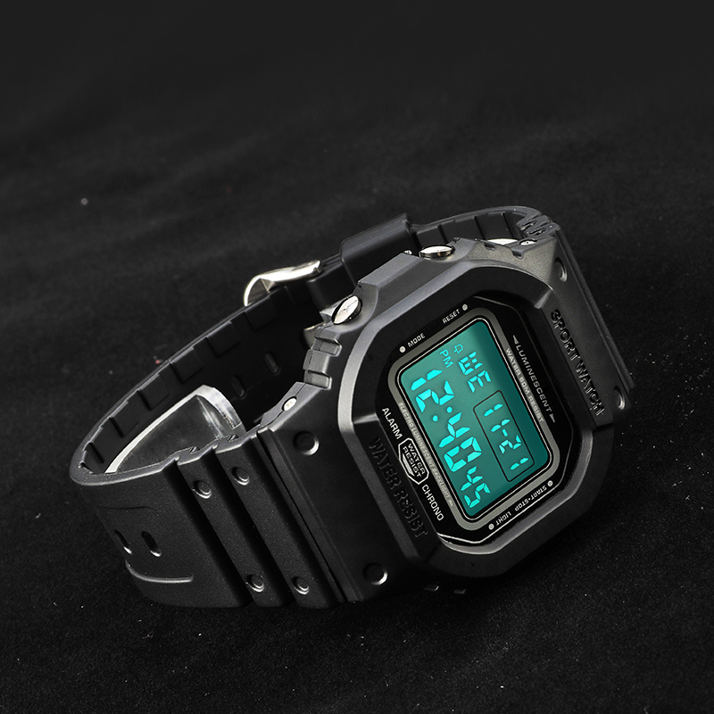 44mm Big Dial Digital Sports Watches Men Clocks Male Alarm Chrono 5ATM Waterproof