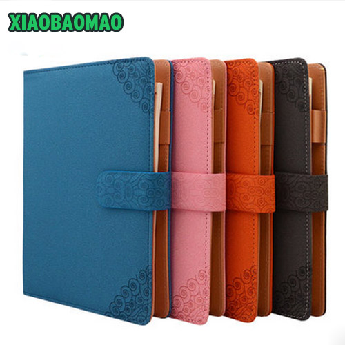 2017 New Arrive Retro Chinese style 6 Loose Leaf Planner A5 Pu Leather Magnetic Notebook A5 Notebook Office Stationery Gift<br>