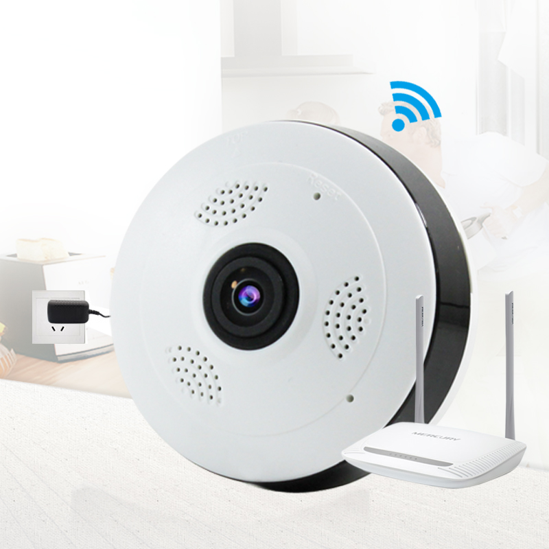 Home Security Ceiling Globle Camera with Wi-Fi Panoramic Remote View From Smartphone/Tablet H.264 1.3MP and Night Vision (White)<br>