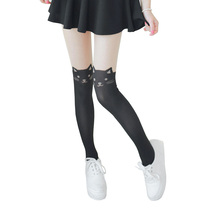 2017 Nylon Cat Head And Tail Tattoo Stockings Lolita Velvet Women Sexy Knee Socks Tights Cute Printed Pantyhose Hosiery 043-805(China)