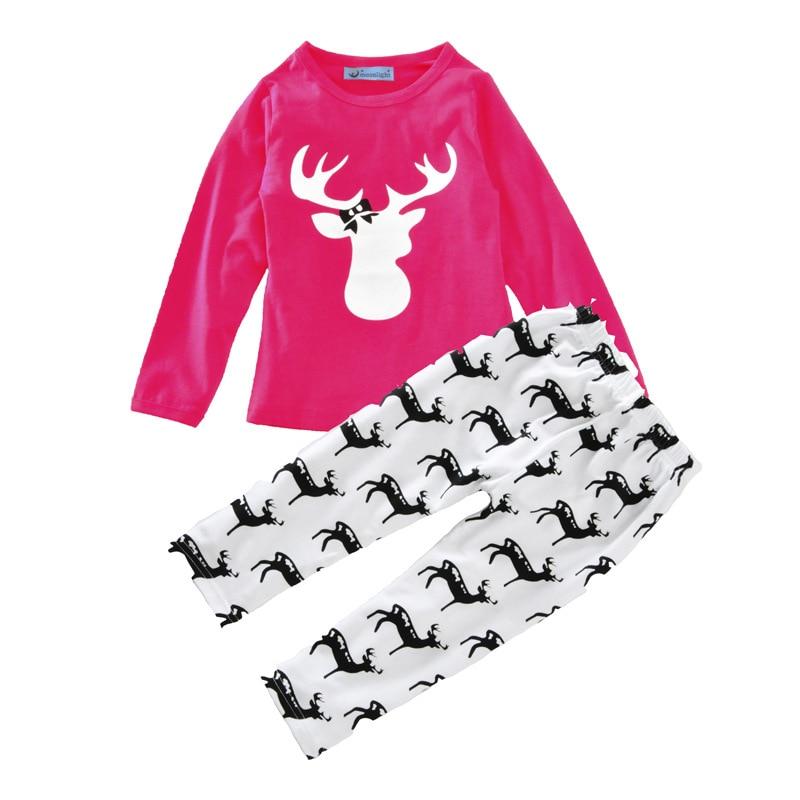 2016 Auturn/winter Baby Girl Christmas Clothing Set Deer Kids Clothes T-shirt+Pant For Toddler Girls 2pcs/set H00248<br><br>Aliexpress