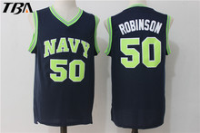 Robinson Black Jerseys #50 Naval Academy USNA College Basketball Jersey Stitched Throwback NAVY Basketball Jerseys Free Shipping(China)