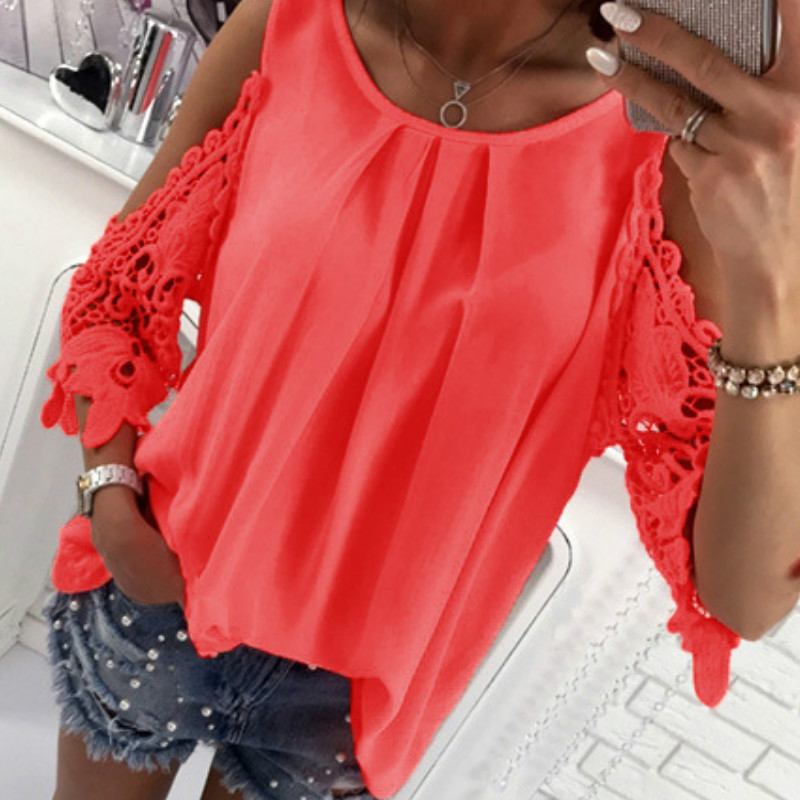 Women Summer Chiffon Blouses 18 New Casual Sexy Sun-top Blusas Half Sleeve Lace Patchwork Shirts Off Shoulder Tops Solid GV381 3