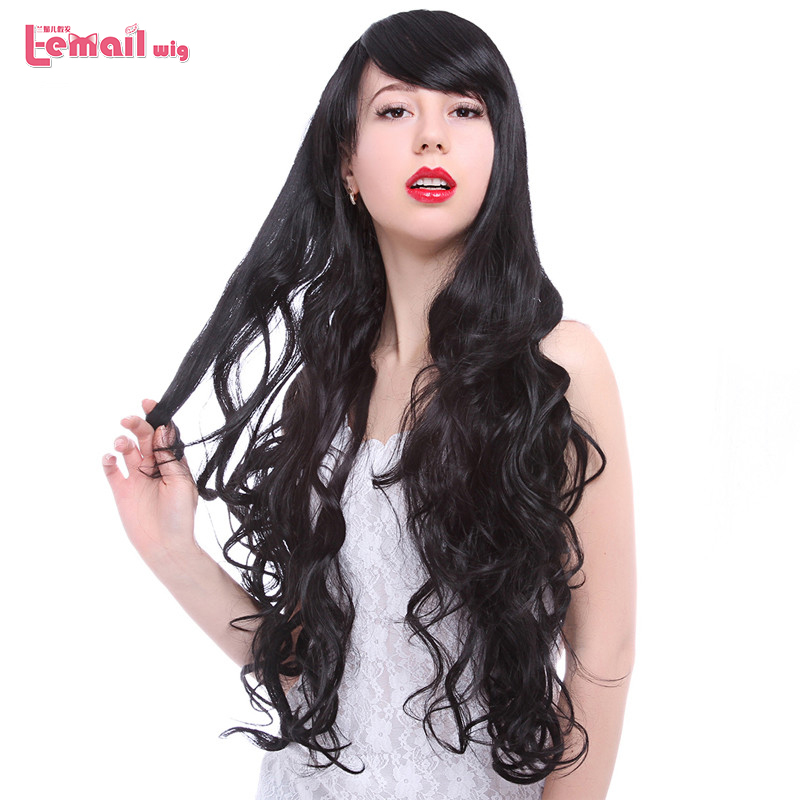 Free Shipping Women Lady 75cm Long Wavy Synthetic Hair Black Gothic Lolita Cosplay Wigs Peruca Perruque Peluca<br><br>Aliexpress