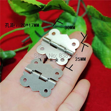 100pcs 30*25MM Steel with Nickel Plated Cabinet Door Hinge 4 Holes Butterfly SilverTone(China)