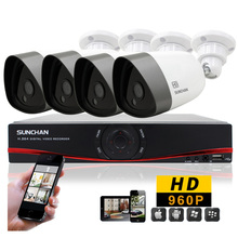 SUNCHAN 4CH DVR Kit AHD Array LED 960P Waterproof Real Time 1080N DVR Day/Night Vision Security Camera Home Surveillance System