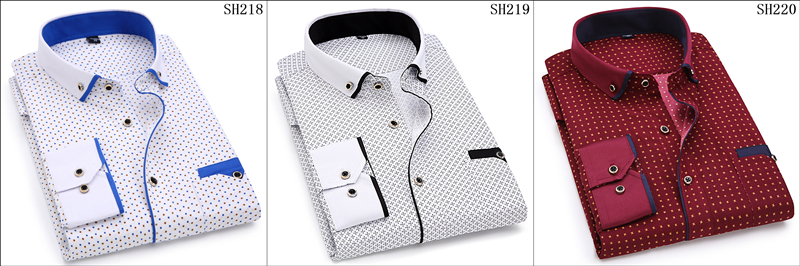 19 Men Fashion Casual Long Sleeved Printed shirt Slim Fit Male Social Business Dress Shirt Brand Men Clothing Soft Comfortable 4