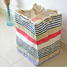 stripe cotton and linen organizer,storage boxes,receive bag With thick cotton rope Practical shopping bags move bags LDA106