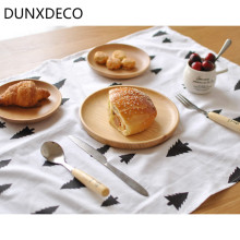 DUNXDECO 1PC 50x70 Nordic Fashion Black Small Tree Fresh Cotton Table Placemat Napkin Decorative Fabric Cover Photo Prop