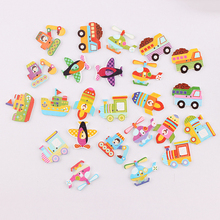 Wholesale  25pcs Mixed Style Transport  Wooden Buttons For Handmade Craft Fit Sewing And Scrapbooking Accessories 2 Holes