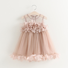 2017 Cute Girl Flower Party Wedding Dress Pink White Tulle Lace Sundress Kids Princess Dress Girls Ball Gowns Summer Clothes