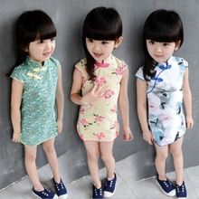 2017 summer baby girl short sleeve dress Brand Chinese style child printing cheongsam Girl retro Dress Children's clothing