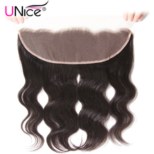 "UNice Hair Brazilian Body Wave Lace Frontal Free Part Ear to Ear Human Hair Lace Closure Size 13""x4"" Natural Color Remy Hair(China)"