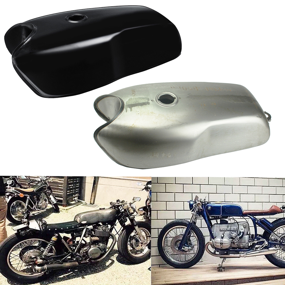 Motorcycle Gas//Fuel Tank 2.4 Gallon 9L Raw Steel The Skyline Cafe Racer