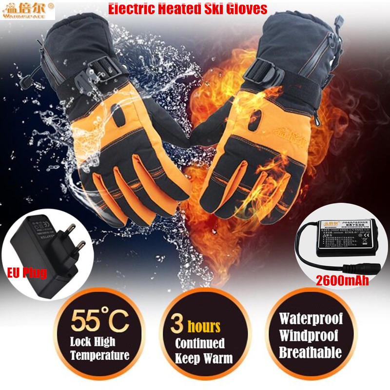 Children&amp;Lady 2000MAH Smart USB Electric Heat Gloves,Ski Waterproof Lithium Battery Self Heating Glove,4 Finger&amp;Hand Back Heated<br>