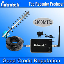 Lintratek 3G Repeater 2100MHz 3G Signal Boosters UMTS 2100 MHz Cell Phones Signal Repeater 3G Yagi Antenna Full Kit Hot Sell S20
