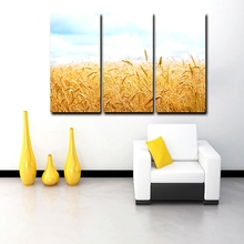 The Harvest of Golden Wheat Oil Painting Printed on Canvas Unframed Wall Art for Office Restaurant Hotel Decoration