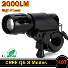 Q5 LED Bike Light Bicycle  7 Watt 2000 Lumens 3 Mode CREE Light Front Torch Waterproof + Torch Holder