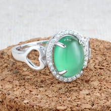 Silver S925 Jewelry Rings Women Open Adjust Cocktail Heart Love Green Stone Ross Quartz Rose Gold Crystal Fashion Findings 1pc