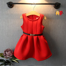 AD Children's Elegant Space Wadding Little Girl Sundress Famous Brand Solid Red Winter Xmas Night Belt Dress for 2-10 Years Old