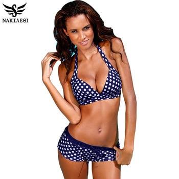 NAKIAEOI 2016 Nouvelle Bikinis Femmes Maillot de Bain Rétro Push Up Bikini Vintage Set Plus La Taille de Maillots De Bain Maillot de bain De Bain Vêtements De Plage 3XL