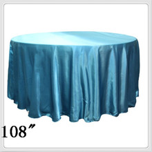 10pcs 108'' Round Satin table cloths round table cloths for tablecloth round turquoise(China)